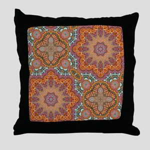 turquoise orange bohemian moroccan  Throw Pillow