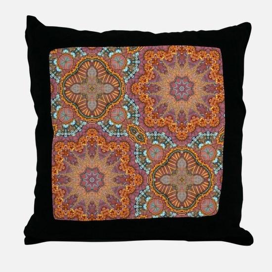 turquoise orange bohemian moroccan  Throw Pillow