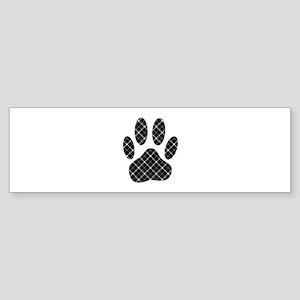 Black And White Tartan Dog Paw Prin Bumper Sticker