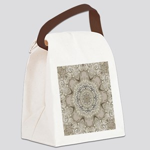 pearl beige lace girly mandala Canvas Lunch Bag