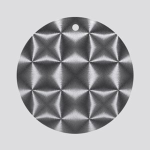 silver geometric pattern industrial Round Ornament