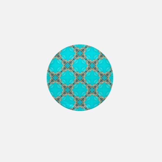 moroccan pattern turquoise Quatrefoil  Mini Button