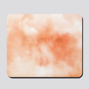 Coral ikat watercolor hipster ombre peac Mousepad
