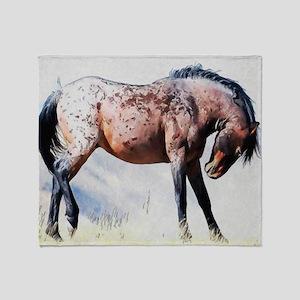 Fighting Stallion Throw Blanket