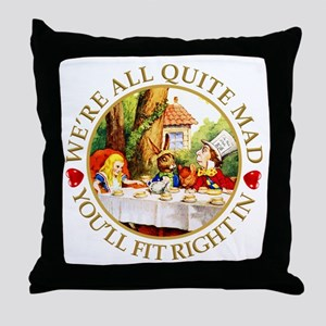 Alice Encounters Talking Flowers in W Throw Pillow