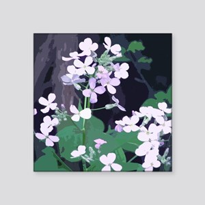 "purple white flowers Square Sticker 3"" x 3"""