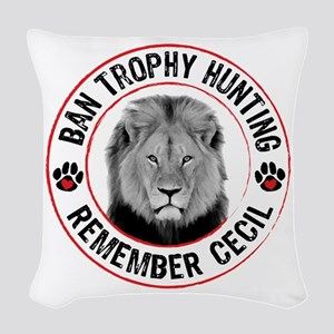 Cecil- Ban Trophy Hunting Woven Throw Pillow