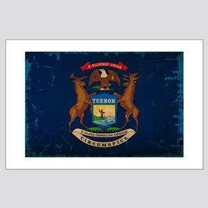 Michigan State Flag VINTAGE Posters