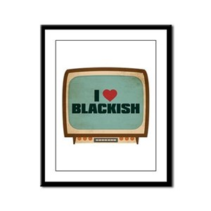 Retro I Heart Blackish Framed Panel Print