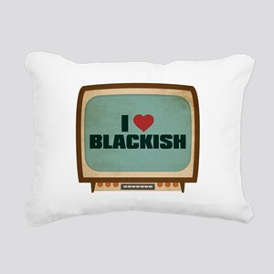 Retro I Heart Blackish Rectangular Canvas Pillow