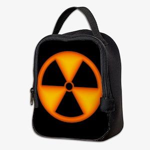Orange Radiation Symbol Neoprene Lunch Bag
