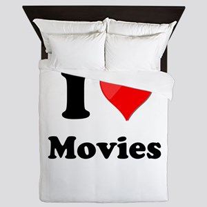 I Heart Love Movies Queen Duvet