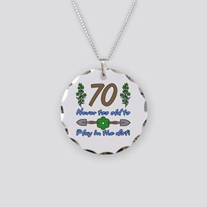 70th Birthday For Gardeners Necklace Circle Charm