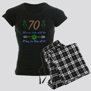 70th Birthday For Gardeners Women's Dark Pajamas