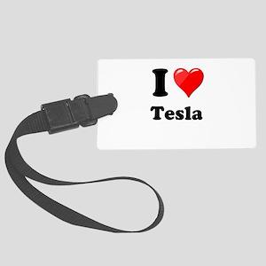 I Love Tesla Large Luggage Tag