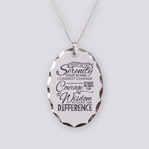 Serenity Prayer (chalk Text) Necklace Oval Charm