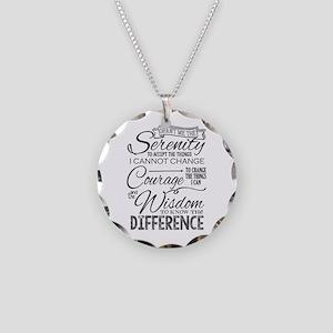 Serenity Prayer (chalk Text) Necklace Circle Charm