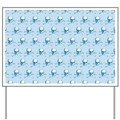 Blue Skull And Crossbones Pattern Yard Sign