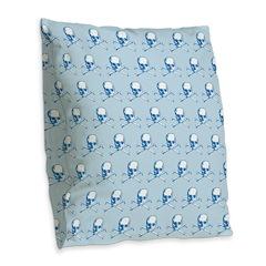 Blue Skull And Crossbones Pattern Burlap Throw Pil