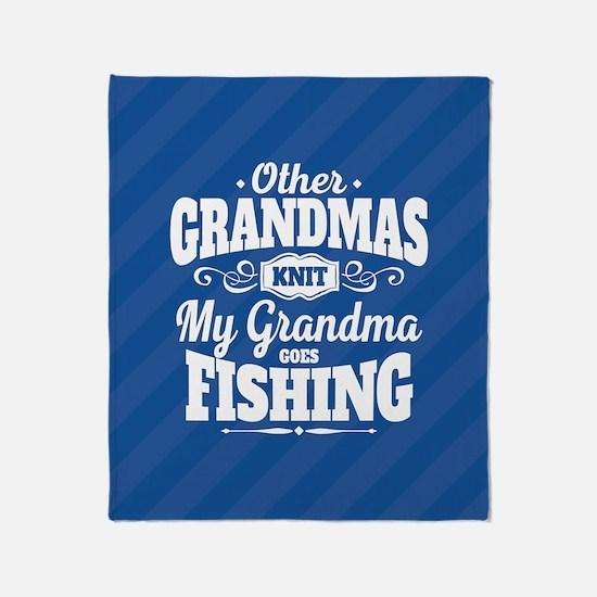 Fishing Grandma Throw Blanket