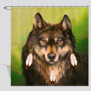 Three Feather Wolf Shower Curtain