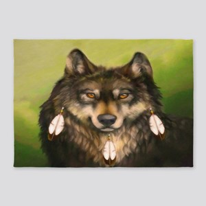 Three Feather Wolf 5'x7'Area Rug