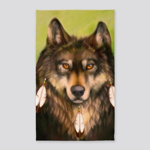 Three Feather Wolf Area Rug
