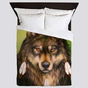 Three Feather Wolf Queen Duvet