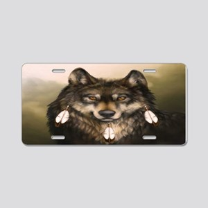 Three Feather Wolf Aluminum License Plate