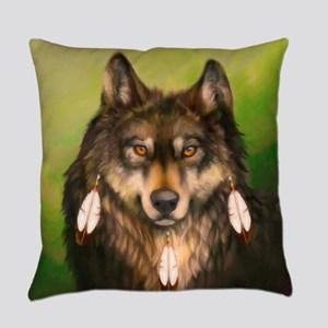 Three Feather Wolf Everyday Pillow