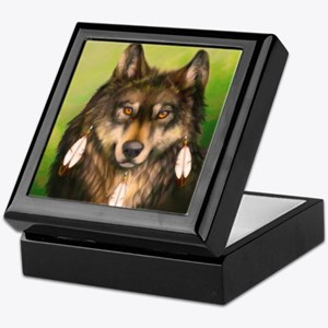 Three Feather Wolf Keepsake Box