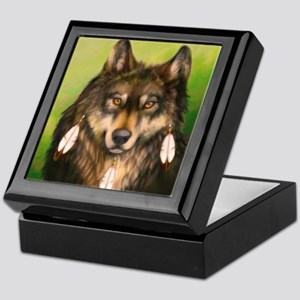 Three Feather Wolf Keepsake Box