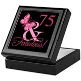 75th birthday women Square Keepsake Boxes