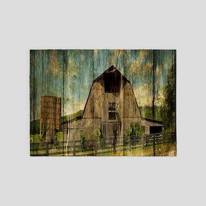 wood grain old barn 5'x7'Area Rug