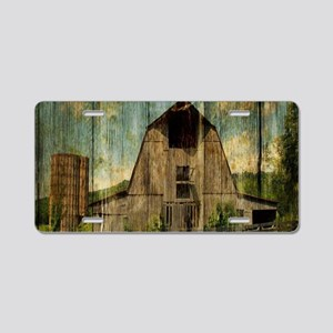wood grain old barn Aluminum License Plate