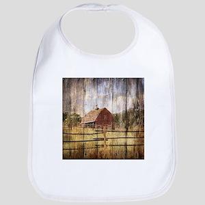 western country red barn Bib