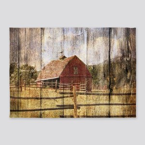 western country red barn 5'x7'Area Rug