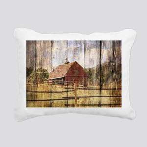western country red barn Rectangular Canvas Pillow
