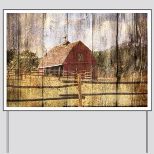 western country red barn Yard Sign