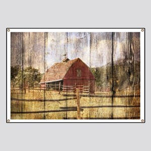 western country red barn Banner
