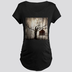 rural landscape old barn Maternity T-Shirt