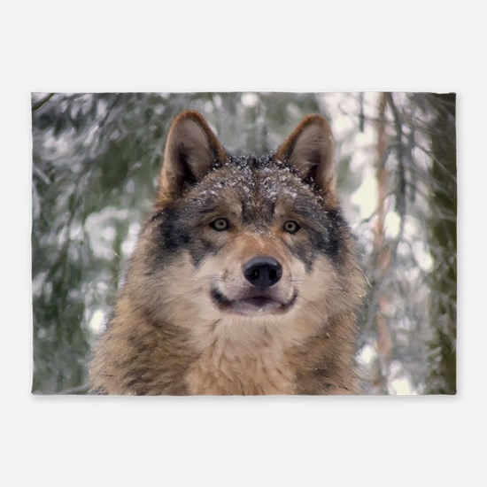 Wolf in Woods 5'x7'Area Rug
