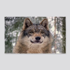 Wolf In Woods Area Rug