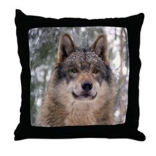 Wolf in Woods Throw Pillow