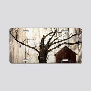 rural landscape old barn Aluminum License Plate