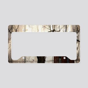 rural landscape old barn License Plate Holder