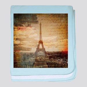 shabby chic paris eiffel tower baby blanket