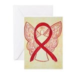 Red Awareness Ribbon Angel Greeting Cards