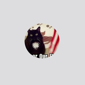 Cat and American Flag Mini Button