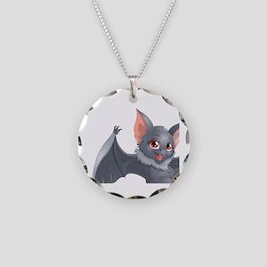 bat Necklace Circle Charm